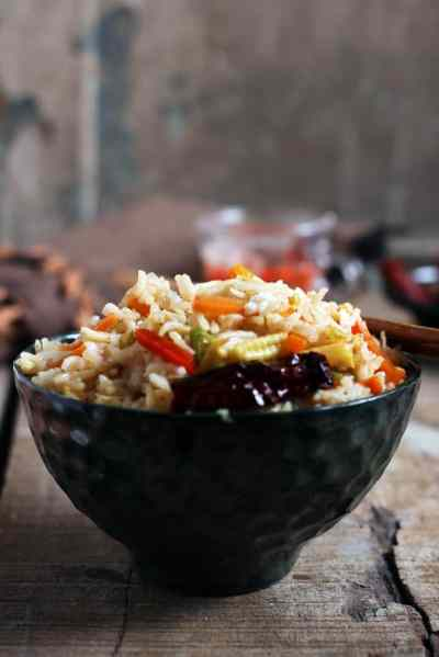 Singapore fried rice recipe (veg)