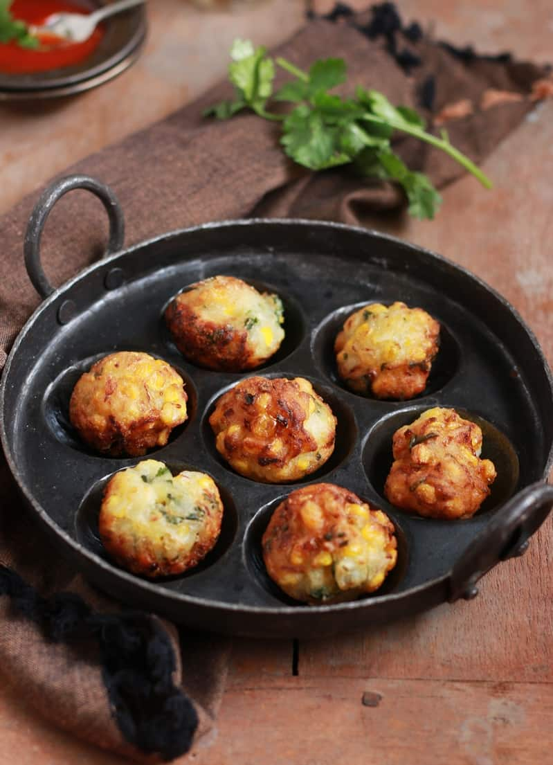 corn fritters in appe pan