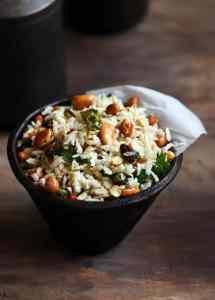 Poha chivda recipe no deep fry version | Diwali 2016 snack recipes
