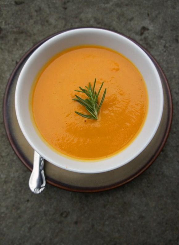Carrot rosemary soup - photo by kathleen flinn