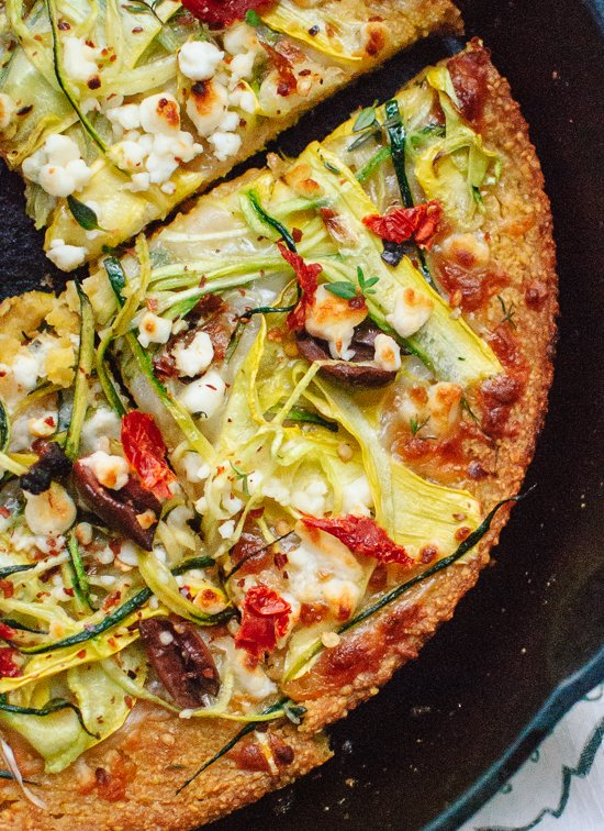 Socca Pizza with Summer Squash and Feta - Cookie and Kate
