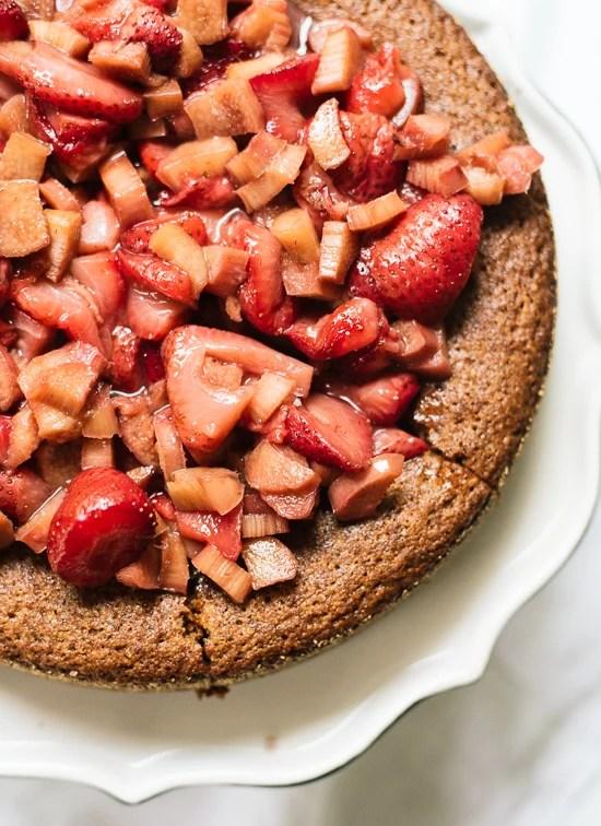 Paleo Rhubarb Compote Cake