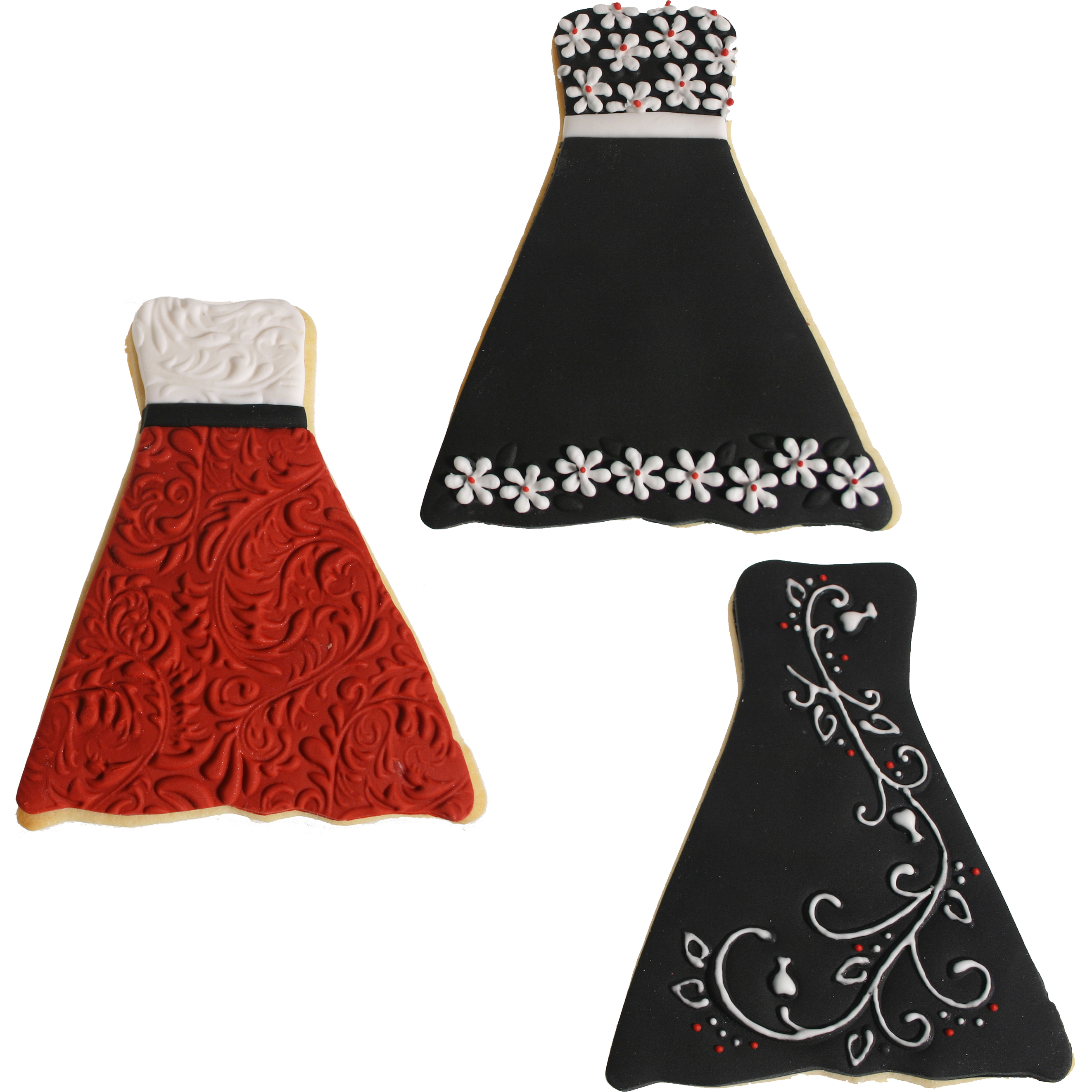 wedding dress cookie wedding dress cookie cutter Black and Red Formal Gowns formal gown cookie cutter