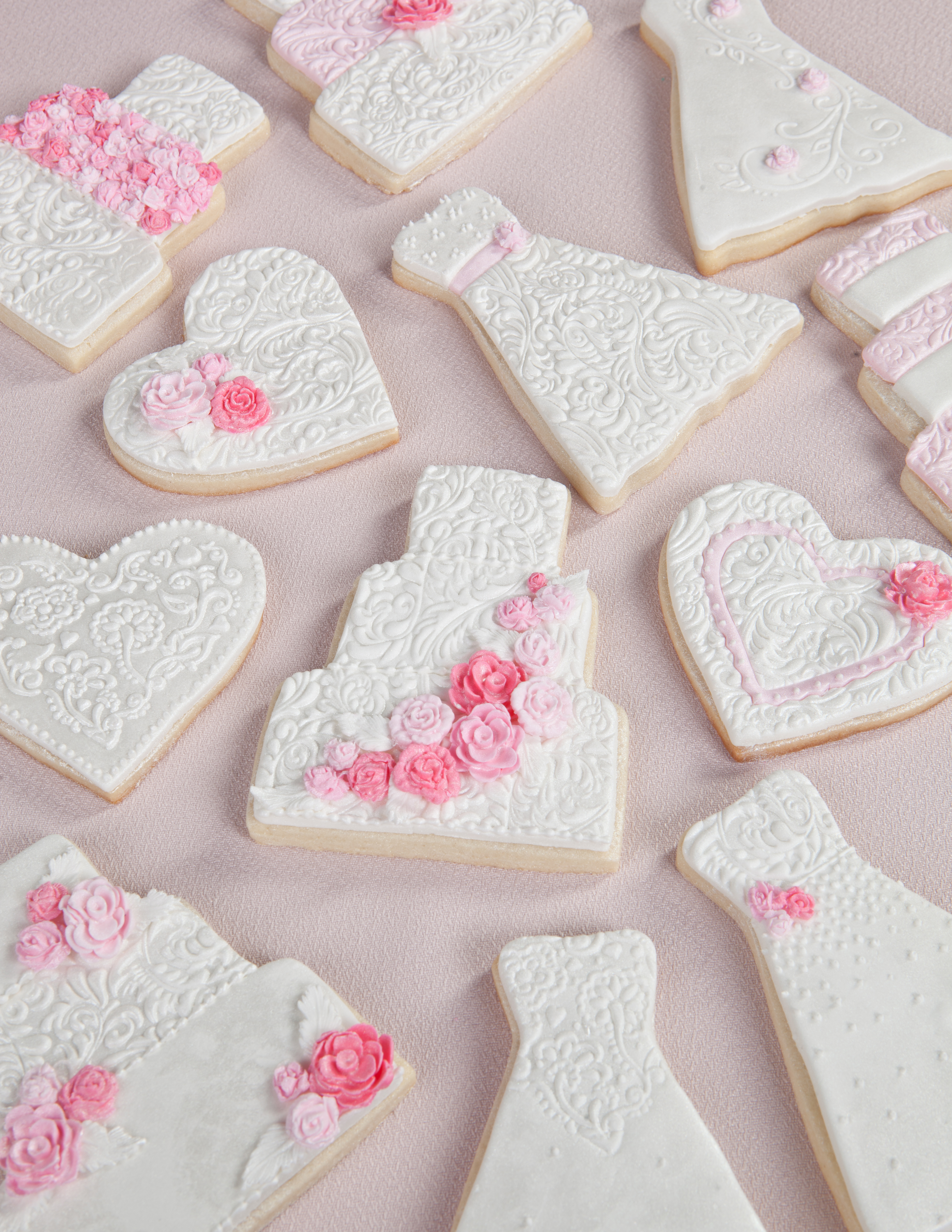 weddingbridal shower cookies wedding dress cookie cutter Pink and White Wedding Cookies