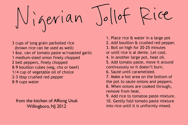 Jollof Rice (With Basmati Rice) Oven baked, Jollof rice and Egg - recipe card