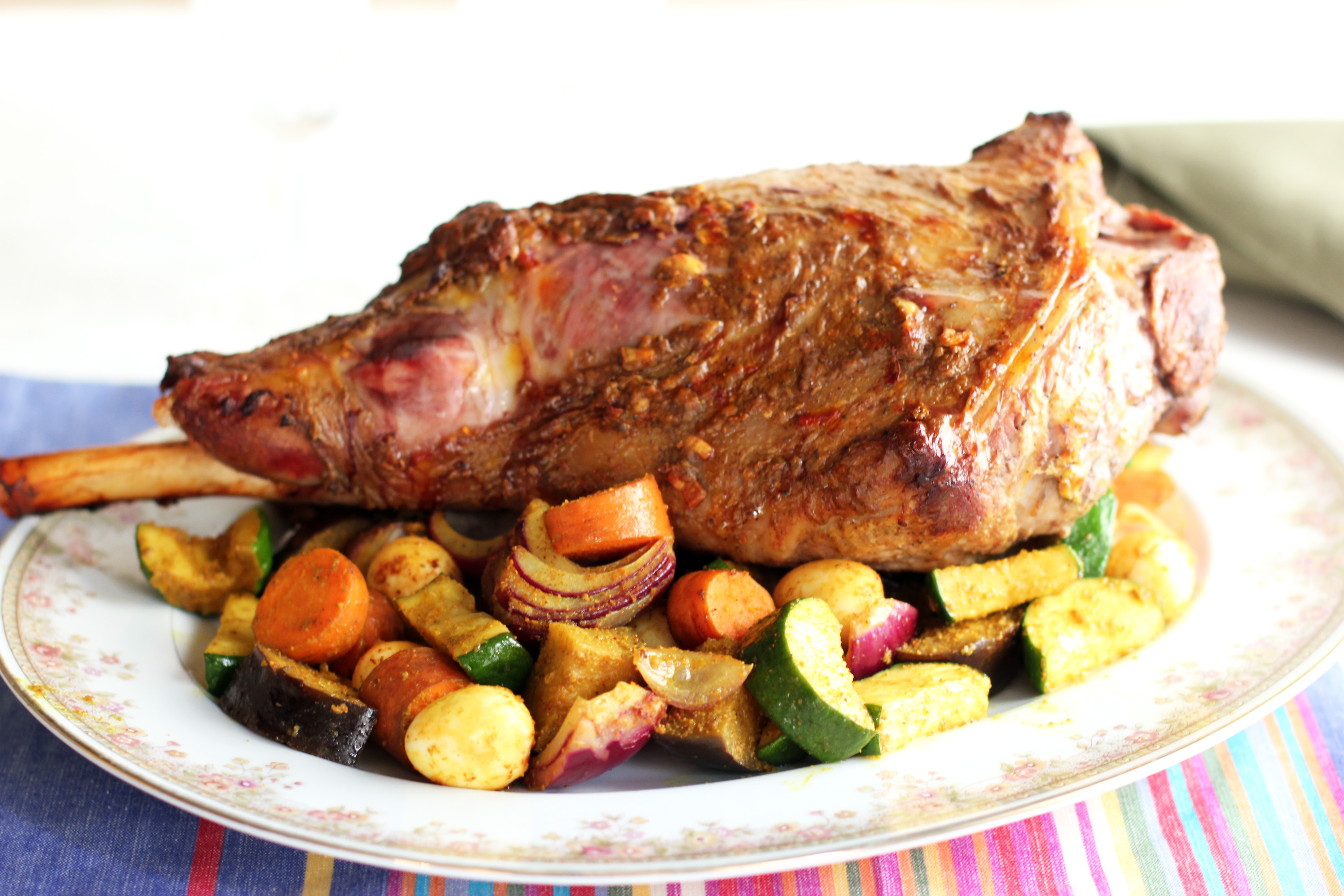 Lamb Meat Cooked Curried Lamb Leg With Roasted Vegetables Cooking In Sens