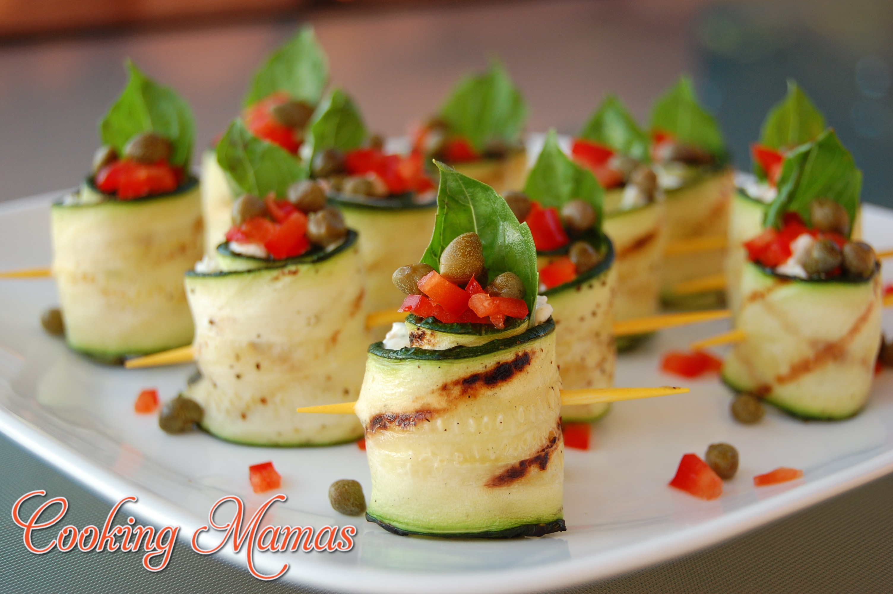 Canapés Wraps Grilled Zucchini Rolls With Garden Cream Cheese