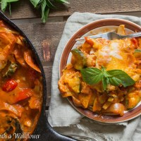 Spicy Chipotle Summer Vegetable Skillet Lasagna