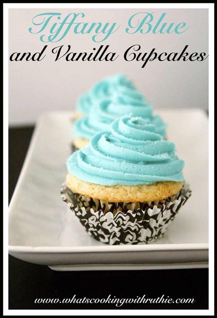 Aqua Color Tiffany Blue And Vanilla Cupcakes - Cooking With Ruthie