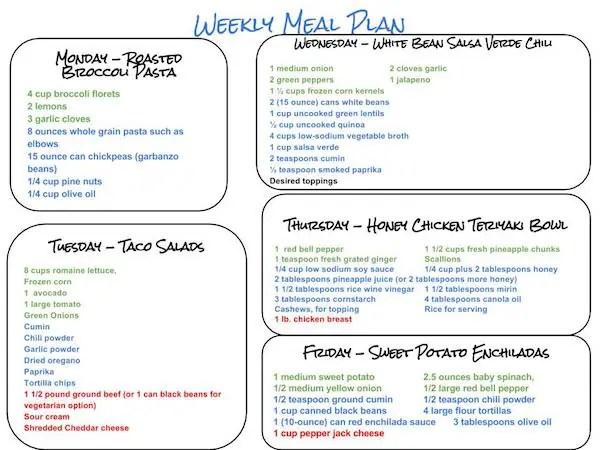 Healthy Weekly Meal Plan \u2013 101015 - Cook Nourish Bliss