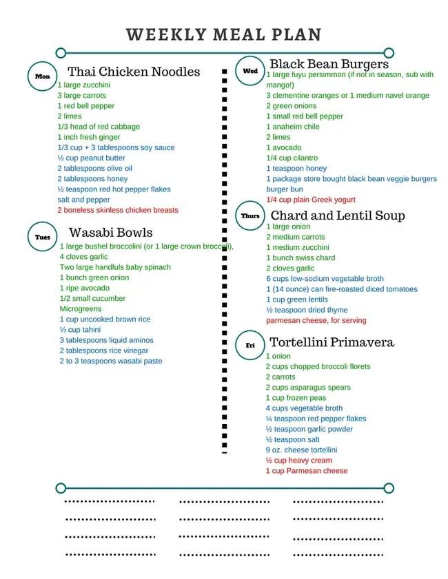 Healthy Weekly Meal Plan \u2013 22716 - Cook Nourish Bliss