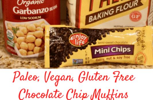 Paleo Vegan Gluten Free Chocolate Chip Muffins. Full story on www.cookwith5kids.com