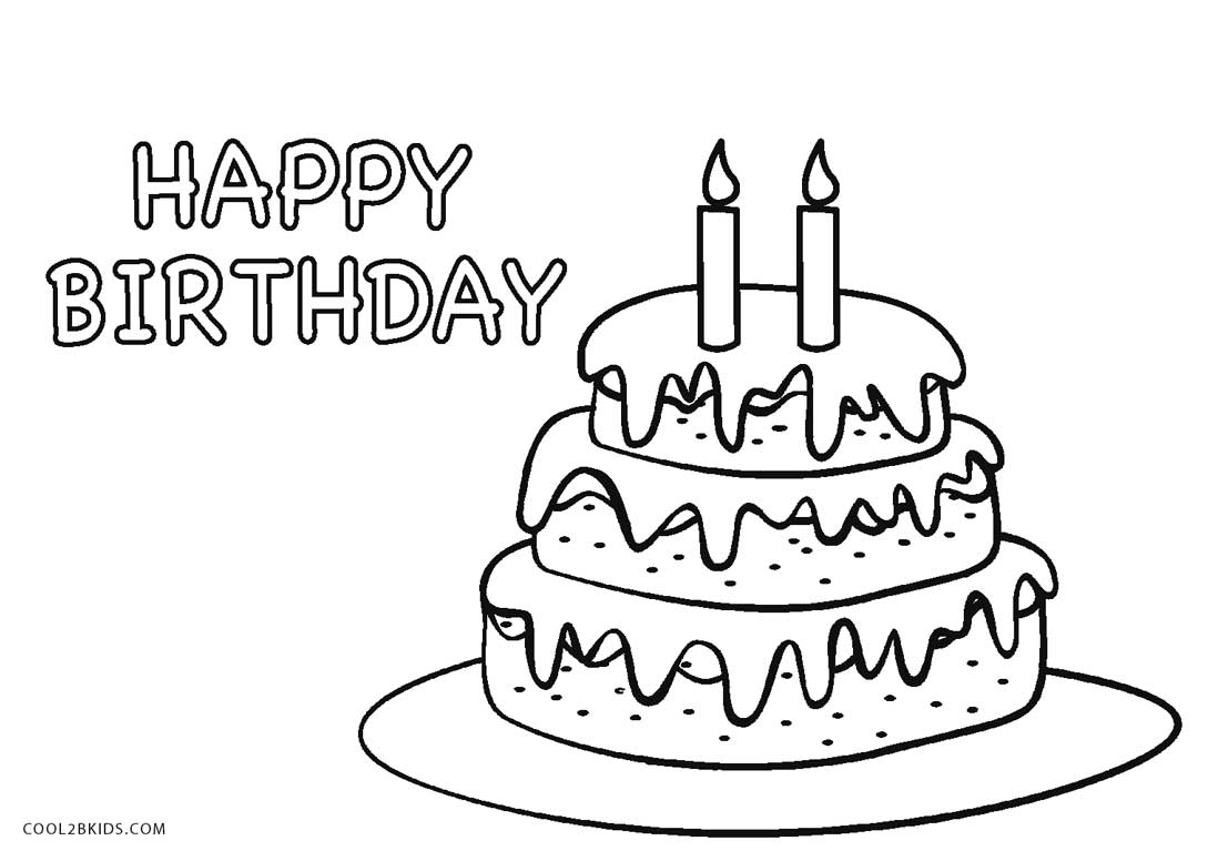 Drawing Cake Colour Free Printable Birthday Cake Coloring Pages For Kids