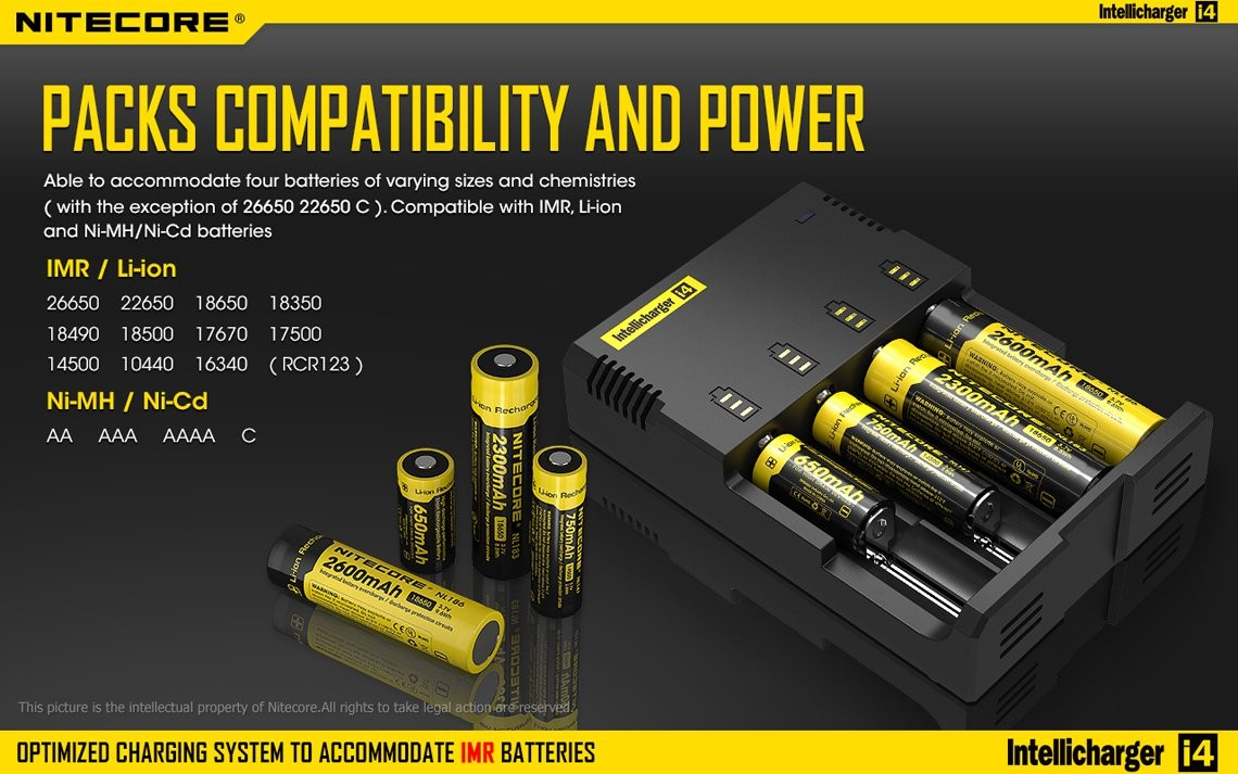 Smart Battery Nitecore I4 Black Intellicharge Universal Smart Battery Charger