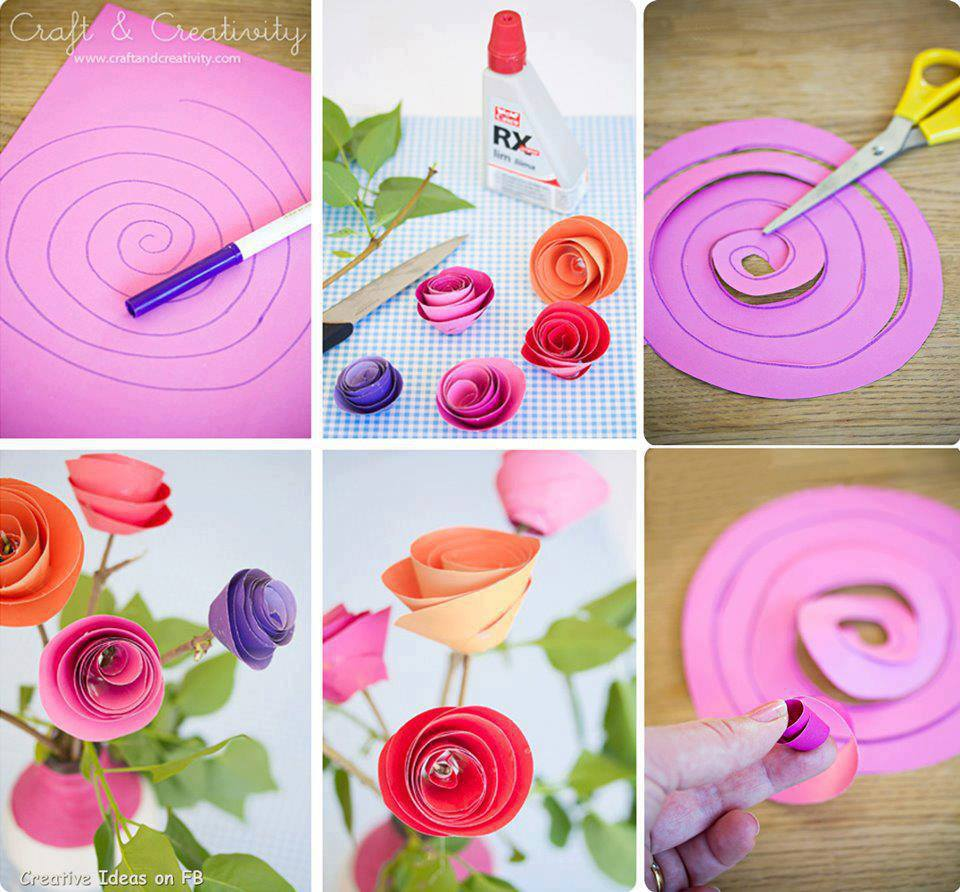 Leuke Dingen Om Te Knutselen Diy Paper Spiral Rose And Decoration