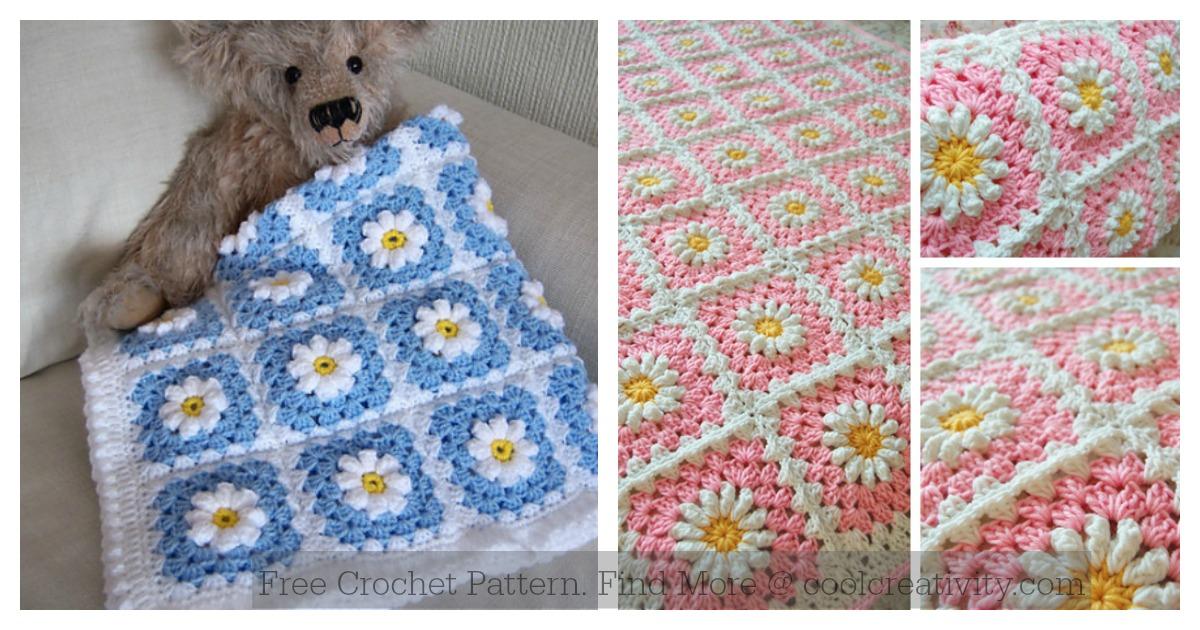 Daisy Granny Square Baby Blanket Free Crochet Pattern