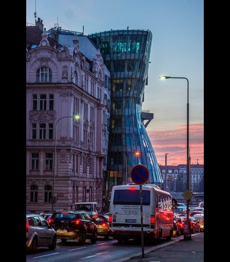 Gehry's Dancing House, Prague, at sunset