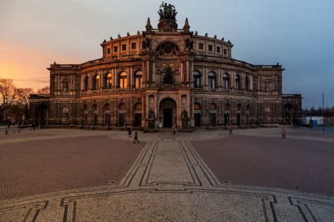 Low Winter Sunset at the Opera House in Dresden, Germany
