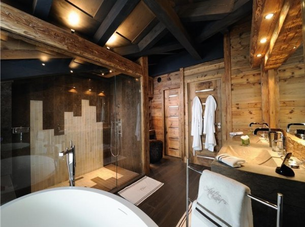 One of eight bathrooms in a French chalet