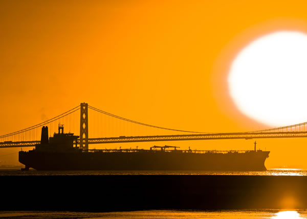 Sunrise with Tanker and Bay Bridge