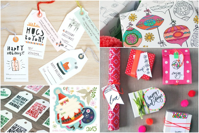 20 of the most amazing free printable holiday gift tags + wrap
