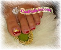 Toes Design - Lovely Red - Nail Art Design From CoolNailsArt