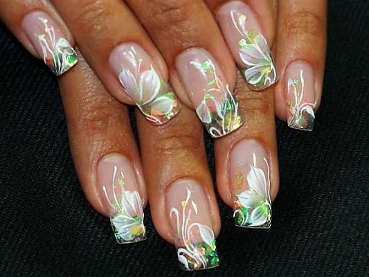 Water Paint Flowers For Acrylic Nails Nail Art Design