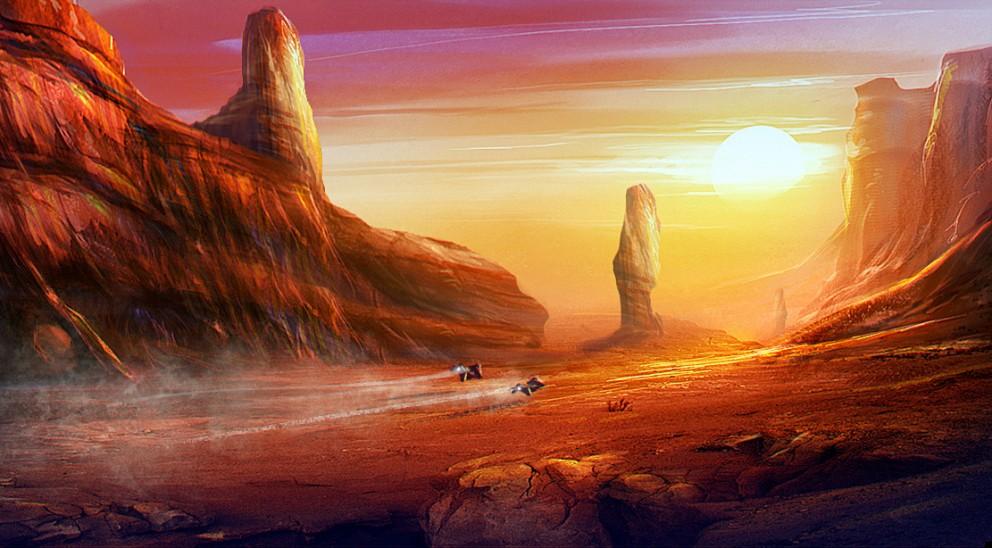 Creature 3d Movie Wallpaper Download Concept Art Canyon Sunset 2d Digital Concept Art