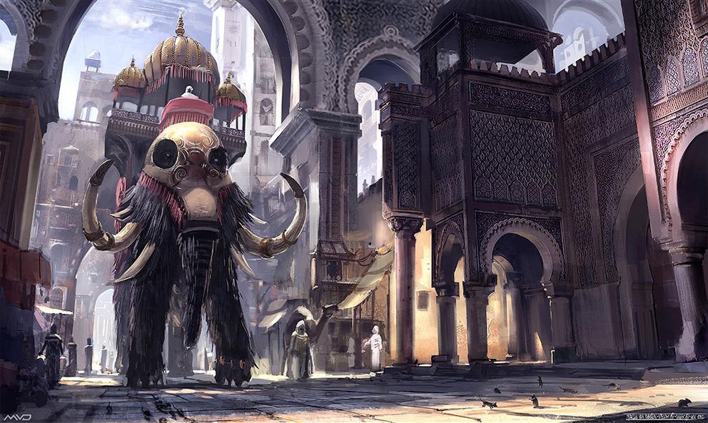 3d Art Street Wallpapers Fantasy Art Mammoth In Morocco 2d Digital Digital
