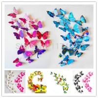 Set of 12 PVC 3D Butterflies Stickable to Wall (Wall Decal