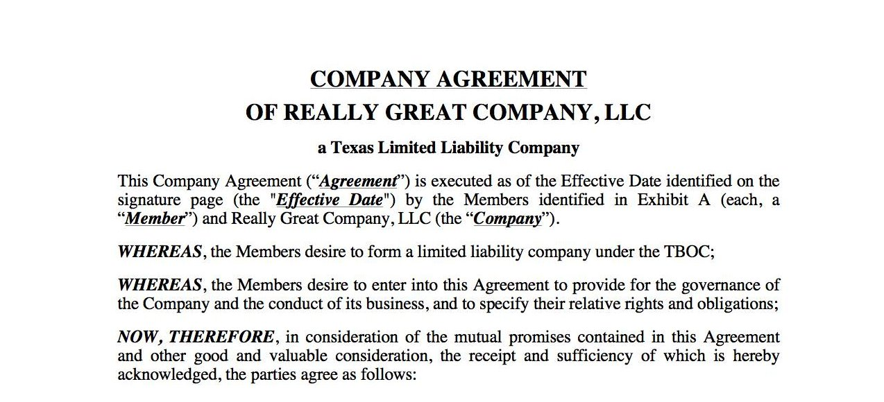 Effect of an LLC Operating / Company Agreements in Texas