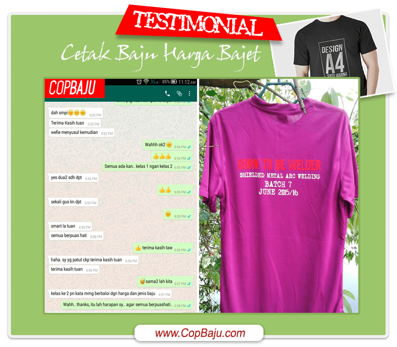 Copbaju - Testimonial Print Tshirt Shielded Metal Arc Welding
