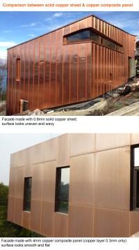 Copper exterior wall cladding panels composite, Copper ...