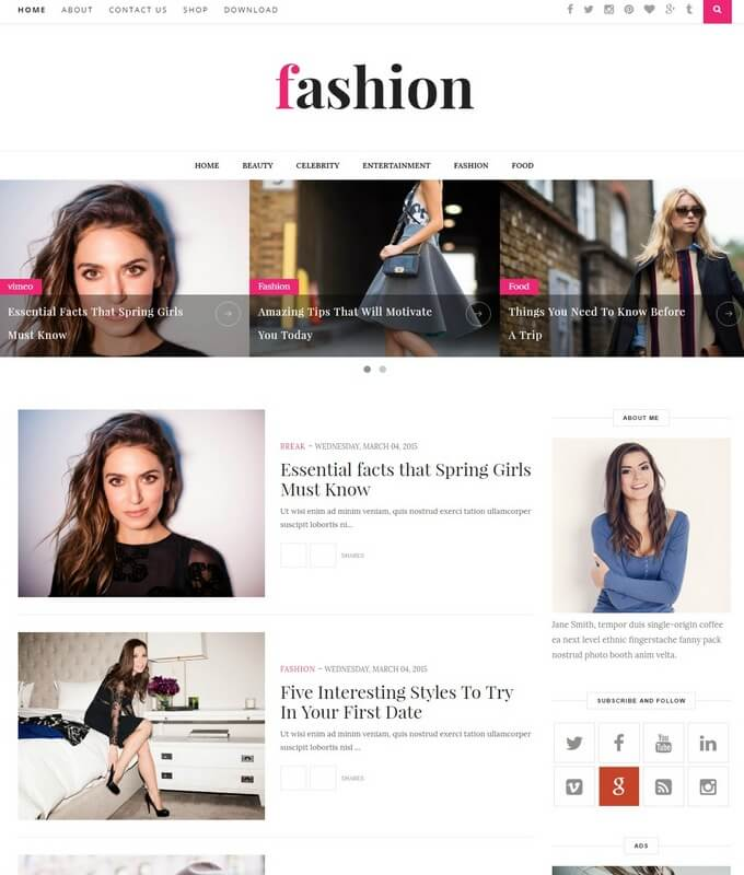 Simple Blogger Templates 2018 Free Download - fashion blogger templates