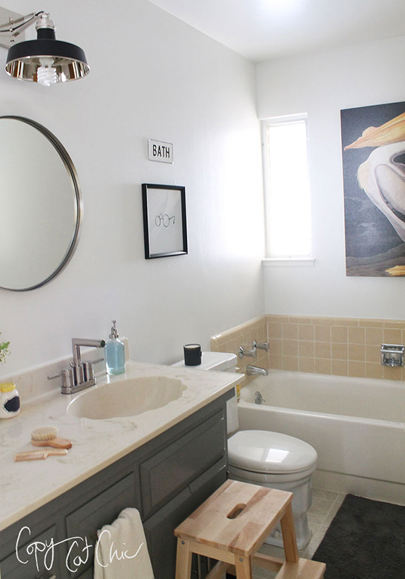 Bathroom Light Fixture Update Ranch House Redo | The Front Bathroom Part 2 - Copycatchic