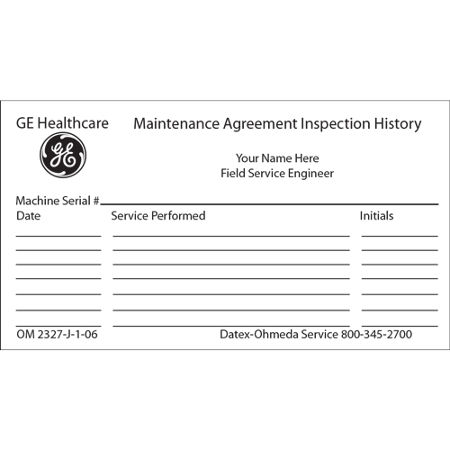 Maintenance Agreement Inspection History CardMinimum Order 100 Cards - maintenance agreement