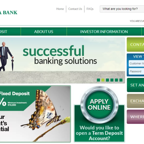 website copywriting for a bank