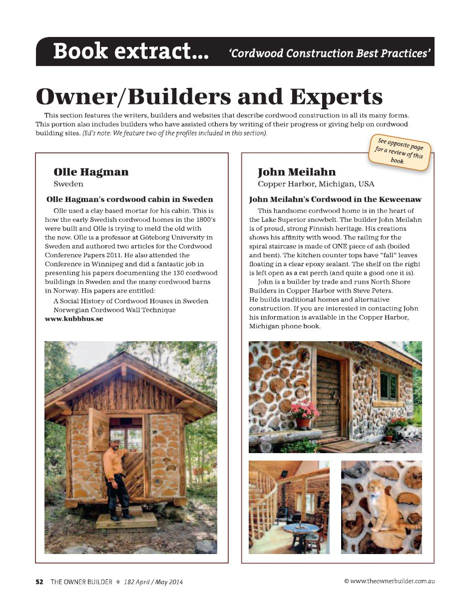 Australian Owner Builder Magazine Publishes Cordwood Auto Wiring A House