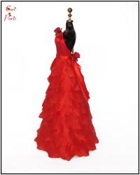 CORI PARIS - Handmade red rose petals evening dress for ...