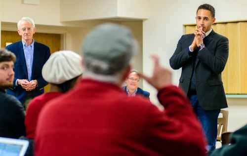 Svante Myrick '09 fields a question from a resident at a candidate forum Tuesday.