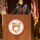 President Elizabeth Garrett praises the work of staff at her first address to the group in Kennedy Hall Friday. (Jason Ben Nathan / Sun Staff Photographer)
