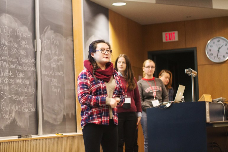 Students present their final projects at the Random Hacks of Kindness Hackathon this weekend. (Haewon Hwang / Sun Staff Photographer)