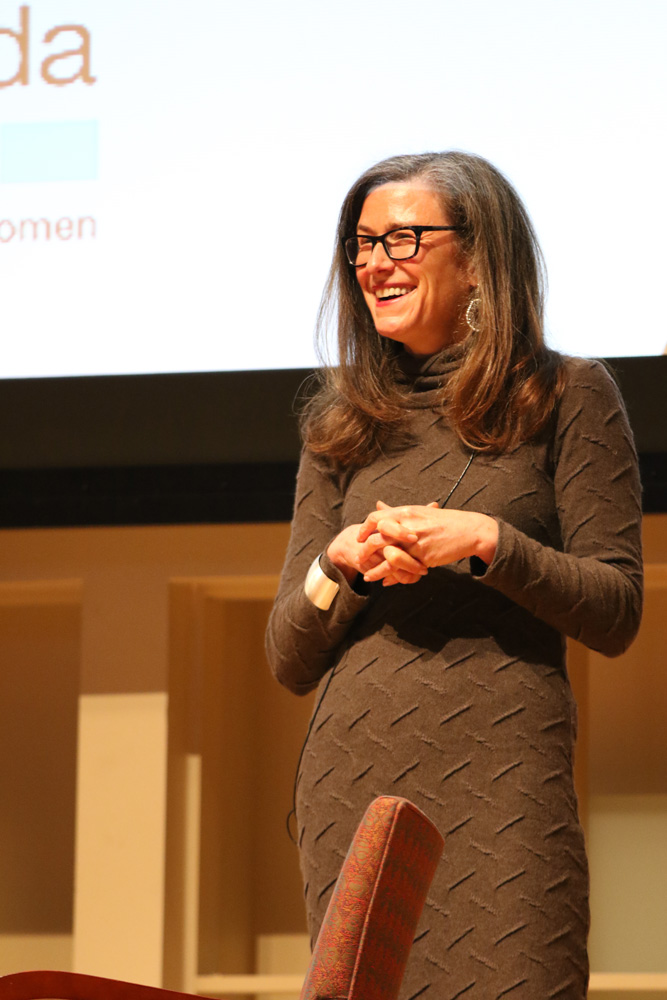 Amy Siskind '87 encourages women to empower themselves at a panel in Statler Auditorium Friday.