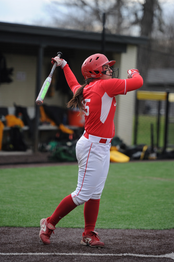 Senior Meg Parker hit a home run in the Red's 9-7 defeat against Saint Francis