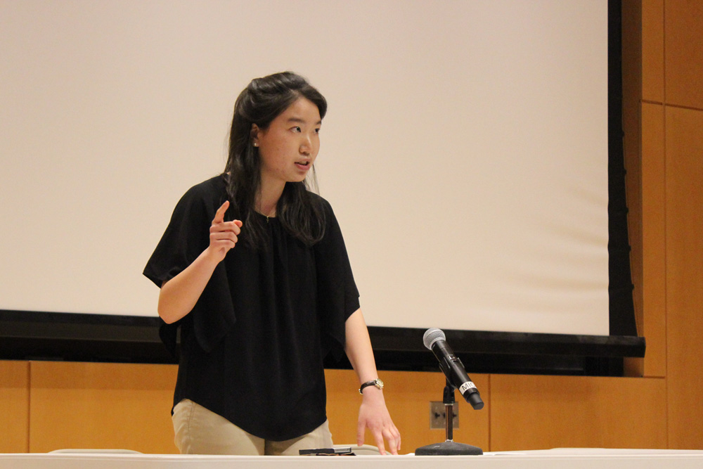 HeeJin Cheon '16 speaks in favor of The Ithaca Plan at a public debate last week.