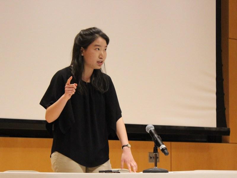 HeeJin Cheon '16 speaks in favor of The Ithaca Plan at a public debate last week.