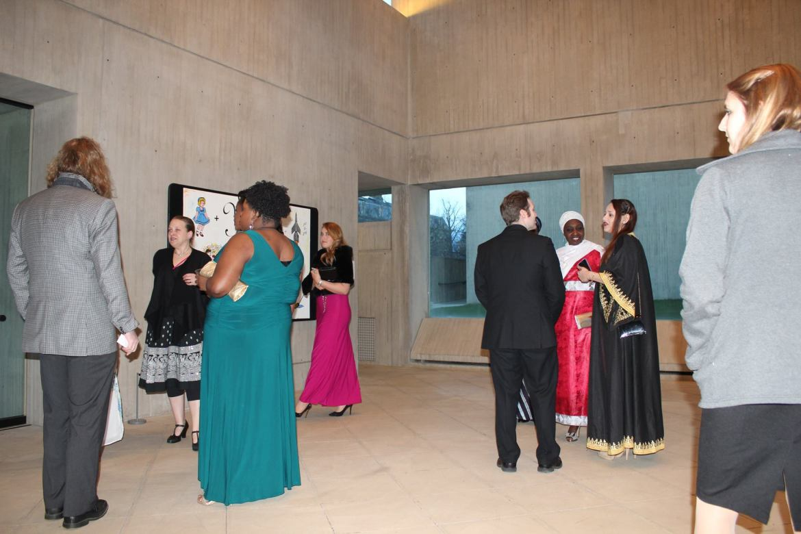 Members of the Cornell and Ithaca community attend the Syrian Refugee Gala in the Johnson Museum of Art Saturday night.