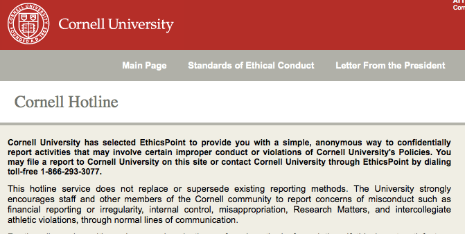 Screenshot of the new ethics hotline website, where students can report anonymous integrity concerns.