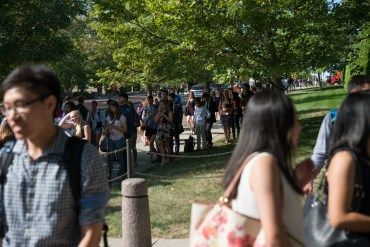 Lines for Thursday's career fair wrapped around Uris Hall and stretched past Ives Hall.