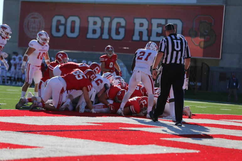 Sophomore quarterback Dalton banks finds the endzone with the quarterback sneak.